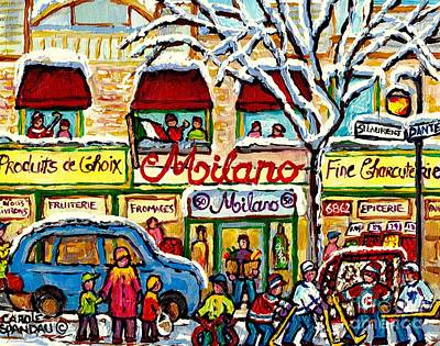 Milano Grocery Little Italy Paintings Dante Street Hockey Art Montreal Winter Scene Carole Spandau   Poster
