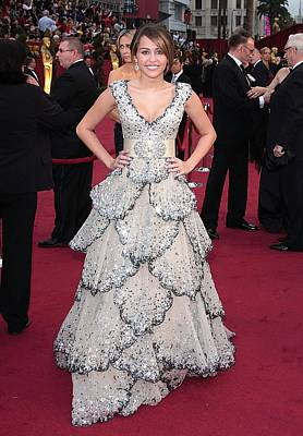 Miley Cyrus Wearing A Zuhair Murad Gown Poster by Everett
