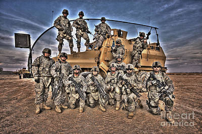 Military Police Pose For This Hdr Image Poster by Terry Moore