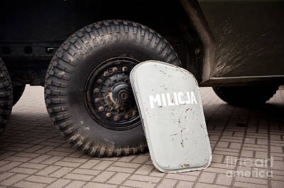Militia Shield And Tire Of Combat Poster by Arletta Cwalina