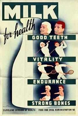 Milk For Health - Vintage Poster Folded Poster
