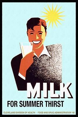 Milk For Summer Thirst - Vintage Poster Restored Poster
