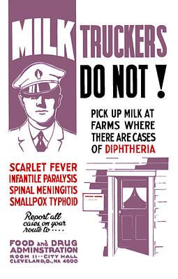 Vintage Milk Trucker Fda Warning  Poster by War Is Hell Store