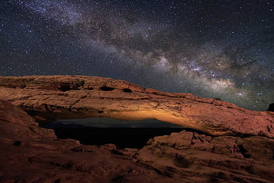 Poster featuring the photograph Milky Way Above Mesa Arch. by Johnny Adolphson