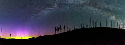 Poster featuring the photograph Milky Way And Aurora Borealis by Cat Connor