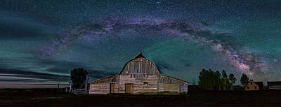Milky Way Arch Over Moulton Barn Poster