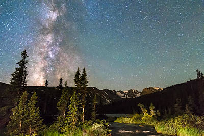 Milky Way Magic Above Longs Lake And The Indian Peaks Poster