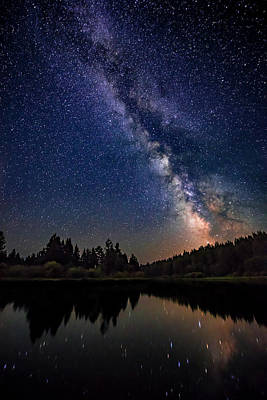 Milky Way Over The Deschutes River Poster