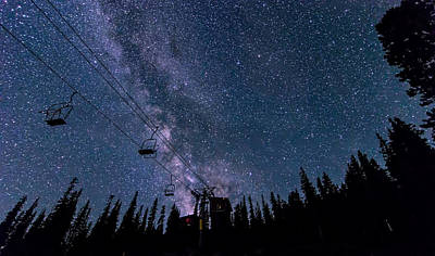 Milky Way Over Chairlift Poster