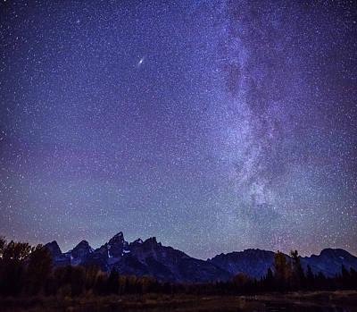 Milky Way Over Grand Teton Mountain Range Poster by Vishwanath Bhat