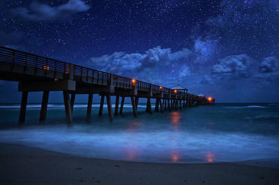 Milky Way Over Juno Beach Pier Under Moonlight Poster