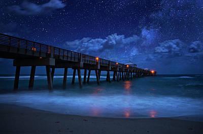 Milky Way Over Juno Beach Pier Under Moonlight Poster