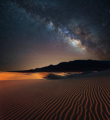 Poster featuring the photograph Milky Way Over Mesquite Dunes by Darren White