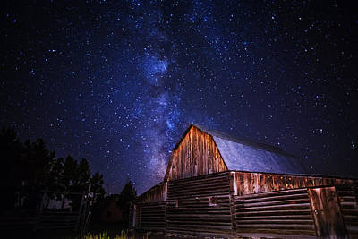 Milky Way Over Mormon Row Barn In Gtnp Poster by Vishwanath Bhat