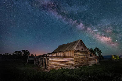 Milky Way Over Moulton Barn Poster