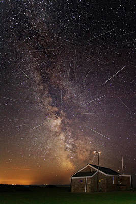 Milky Way Over Old Lifeguard Station At Rhossili Poster