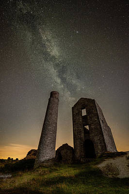 Milky Way Over Old Mine Buildings. Poster by Andy Astbury