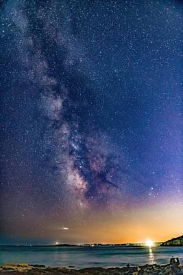 Milky Way Over Portland Head Poster
