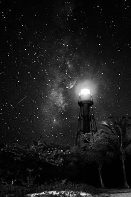 Milky Way Over The Sanibel Lighthouse In Black And White Poster