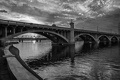 Poster featuring the photograph Mill Avenue Bridge At Sunset Black And White by Dave Dilli
