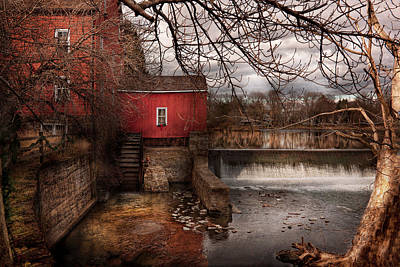 Mill - Clinton Nj - The Mill And Wheel Poster by Mike Savad