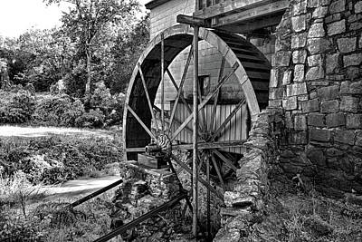 Mill Of Guilford Water Wheel In Bw Poster by Selena Wagner