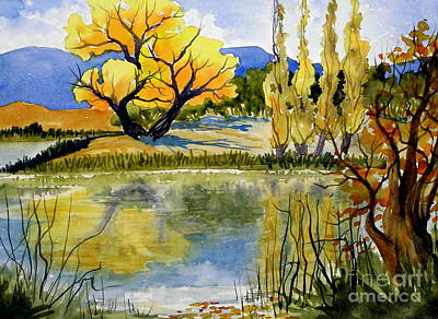 Mill Pond Autumn Poster by Pat Crowther
