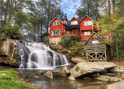 Mill Shoals Falls - Wnc Blue Ridge Waterfalls Poster by Dave Allen