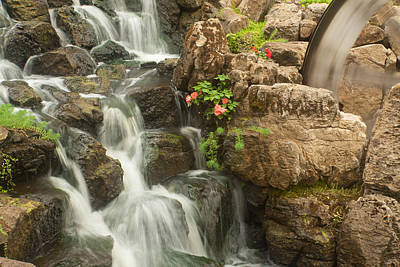 Poster featuring the photograph Mill Wheel With Waterfall by David Coblitz