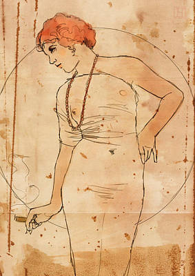 Millie And Her Cigar Poster by H James Hoff