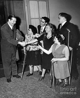 Milton Berle Greets A Group Of Fans With Physical Disabilities. 1946 Poster