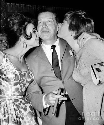 Milton Berle Is Happily Getting Smooched By Joan Collins And Shirley Maclaine At Marilyn Monroe's  Poster