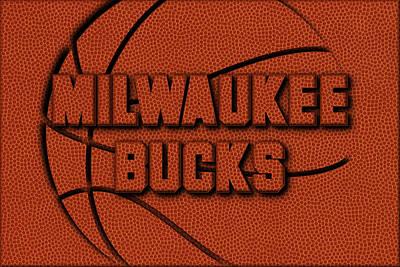 Milwaukee Bucks Leather Art Poster by Joe Hamilton