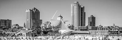 Milwaukee Skyline Panorama In Black And White Poster by Paul Velgos