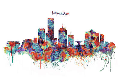 Poster featuring the mixed media Milwaukee Watercolor Skyline by Marian Voicu