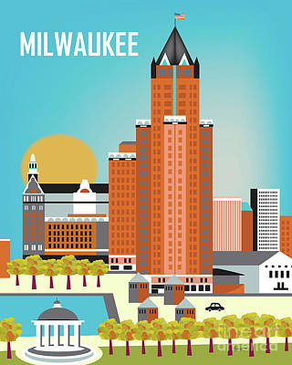 Milwaukee Wisconsin Vertical Skyline Poster by Karen Young