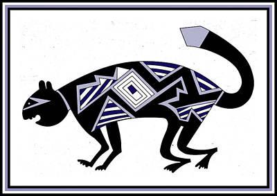 Poster featuring the digital art Mimbres Mountain Lion by Vagabond Folk Art - Virginia Vivier
