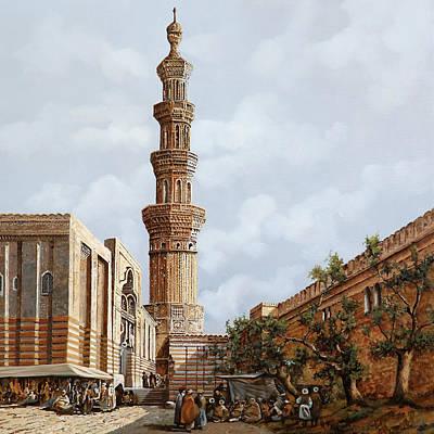 Minareto E Mercato Poster by Guido Borelli