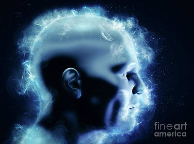 Mind, Brain Power And Energy Concept. 3d Human Head With Glowing Abstract Shapes Poster by Michal Bednarek
