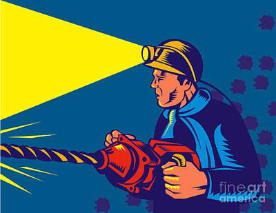 Miner With Jack Drill Poster by Aloysius Patrimonio