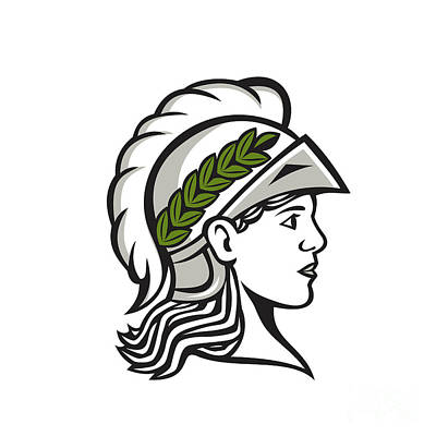 Minerva Head Side Profile Retro Poster