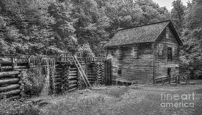 Mingus Mill Black And White Mingus Creek Great Smoky Mountains Art Poster by Reid Callaway