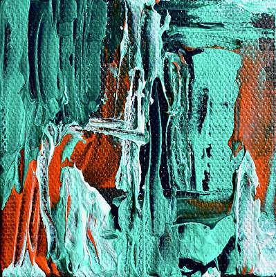 Mini Abstract In Green Poster by Beverley Harper Tinsley