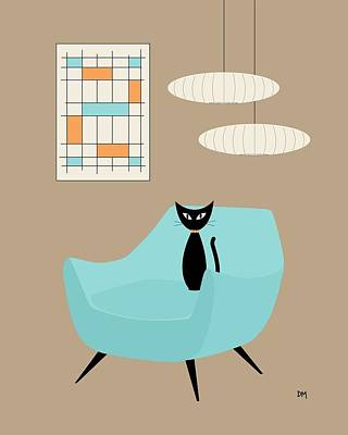 Mini Abstract With Blue Chair Poster