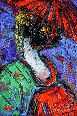 Miniature Geisha Impasto Palette Knife Oil Painting On Canvas Poster