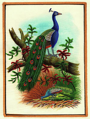 Miniature Painting India Artwork Artist Art Gallery Bird Watching Forest Tree, Watercolor Painting Poster by M B Sharma