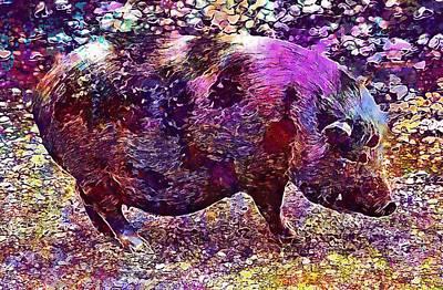 Poster featuring the digital art Miniature Pig Pregnant Animal Pig  by PixBreak Art