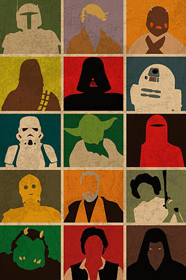 Minimalist Star Wars Character Colorful Pop Art Silhouettes Poster
