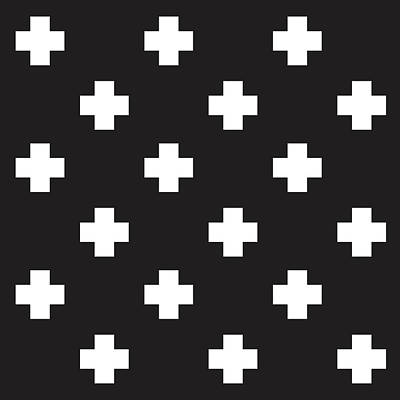 Minimalist Swiss Cross Pattern - Black, White 01 Poster