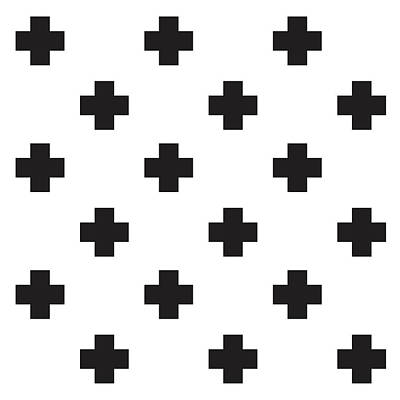 Minimalist Swiss Cross Pattern - Black, White 02 Poster